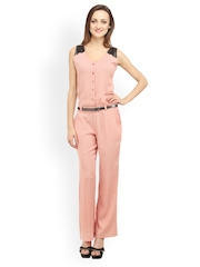 Cottinfab Women Peach-Coloured Printed Jumpsuit