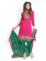 Cotton Bazaar Pink & Green Embroidered Unstitched Dress Material