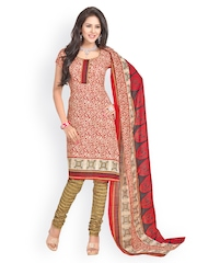 Cotton Bazaar Red Printed Unstitched Dress Material