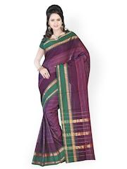 Cotton Bazaar Purple Traditional Saree