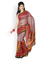 Brown Cotton Printed Saree Cotton Bazaar