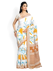 Cotton Bazaar White Printed Cotton Saree
