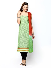 Curtsey Green & Rust Orange Printed Unstitched Dress Material