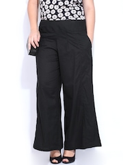 Curvy by DressBerry Women Black Palazzo Trousers