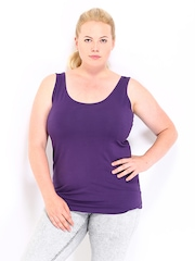 Curvy by Roadster Women Purple Tank Top