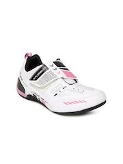 Cyke Women White & Pink Strapy Sneakers