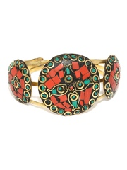 D Muse Antique Gold-Toned & Red Cuff Bracelet D Muse By Dressberry