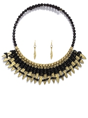 D Muse Gold-Toned & Black Jewellery Set D Muse By Dressberry