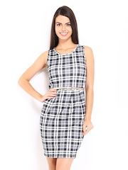 D Muse by DressBerry Grey & White Checked Shaper Berry Dress