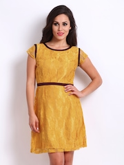 D Muse by DressBerry Mustard Yellow Lace Shaper Berry Dress