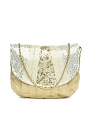 D Muse Muted Gold-Toned & Off-White Purse