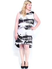 Curvy by D Muse Off-White & Black Printed High Low Dress