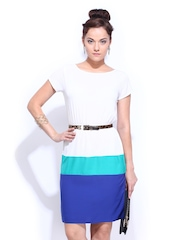D Muse White & Blue Flare Berry Dress