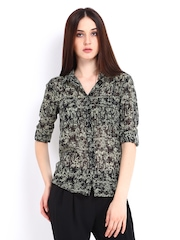 D Muse Women Black & Green Printed Shirt