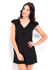 D Muse by DressBerry Women Black Romper Berry Playsuit