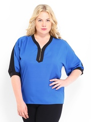 Curvy by D Muse Women Blue & Black Top