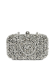 D Muse Silver-Toned & Grey Box Clutch