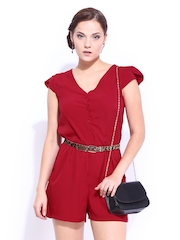 D Muse Women Red Romper Berry Playsuit