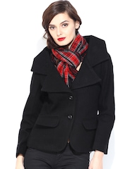D Muse Women Black Woollen Coat