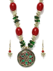 D Muse by Dressberry Gold-Toned & Red Jewellery Set
