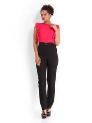 D Muse by Dressberry Women Pink & Black 70s Berry Jumpsuit