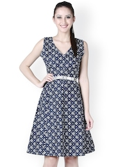 D&S Navy & White Printed A-Line Dress