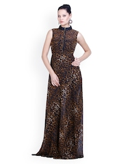 D&S Brown & Black Leopard Print Maxi Dress