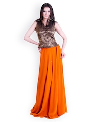 D&S Orange & Black Lehenga Choli