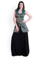 D&S Teal Blue & Black Sharara Pants & Top
