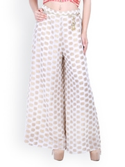D&S Women White Palazzo Trousers
