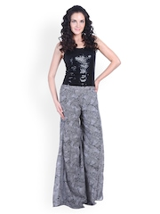 D&S Women Black & White Printed Palazzo Trousers