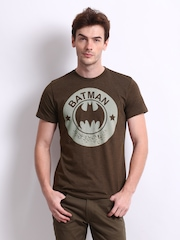 DC Comics Men Brown Batman Printed T-shirt