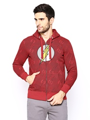 DC Comics Men Red Printed Hooded Sweatshirt