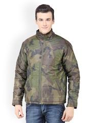 Dazzgear Men Olive Green Camouflage Printed Jacket