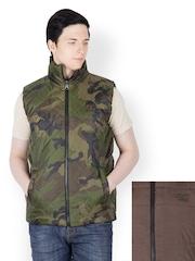 Dazzgear Men Brown & Olive Green Camouflage Print Reversible Jacket