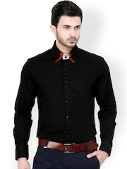 Dazzio Black Slim Fit Semiformal Shirt