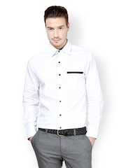 Dazzio Men White Slim Fit Formal Shirt