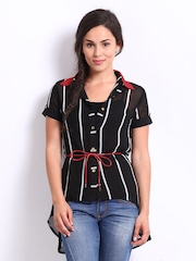 Deal Jeans Women Black Striped Top