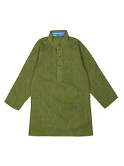 Dennis Morton Boys Green & Brown Striped Kurta