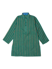 Dennis Morton Boys Green Striped Kurta