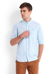 Derby Men Blue & White Linen Blend Slim Fit Casual Shirt