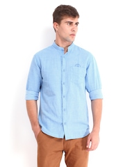 Derby Men Blue Linen Blend Slim Fit Casual Shirt