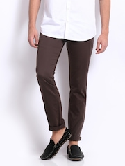 Derby Men Chocolate Brown Slim Fit Trousers