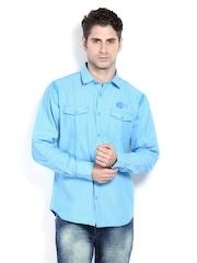 Derby Men Blue Slim Fit Casual Shirt