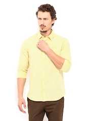 Derby Men Yellow & White Slim Fit Casual Shirt