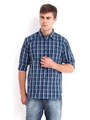 Derby Men Navy & Grey Checked Urban Fit Casual Shirt