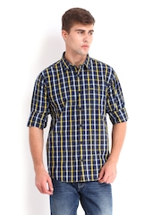 Derby Men Navy & Yellow Checked Urban Fit Casual Shirt