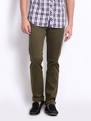 Derby Men Olive Green Slim Fit Trousers