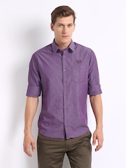 Derby Men Purple Muscle Fit Casual Shirt