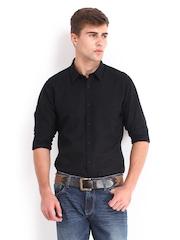 Derby Men Black Linen Blend Slim Fit Casual Shirt